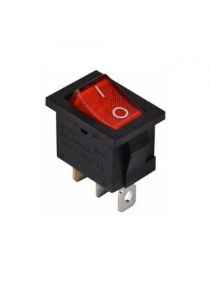 Перемикач Аско 1 клав. червоний з підсвічуванням KCD1-2-101N R/B