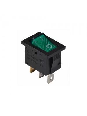 Перемикач Аско 1 клав. зелений з підсвічуванням KCD1-2-101N GR/B