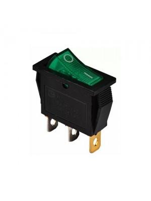 Перемикач Аско 1 клав. зелений з підсвічуванням KCD3-101N GR/B