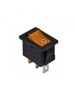 Перемикач Аско 1 клав. жовтий з підсвічуванням KCD1-2-101N YL/B