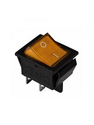 Перемикач Аско 1 клав. жовтий з підсвічуванням KCD2-201N YL/B