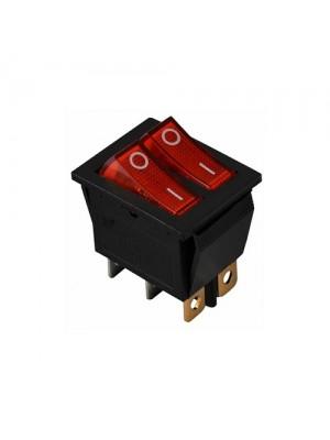Перемикач Аско 2 клав. червоний з підсвічуванням KCD2-2101N R/B