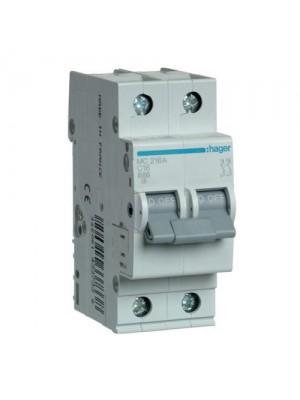 Автоматичний вимикач Hager 2P 16A C 6kA
