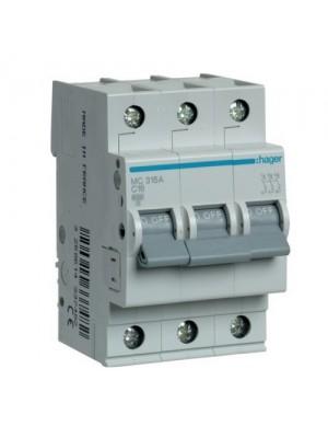 Автоматичний вимикач Hager 3P 16A C 6kA