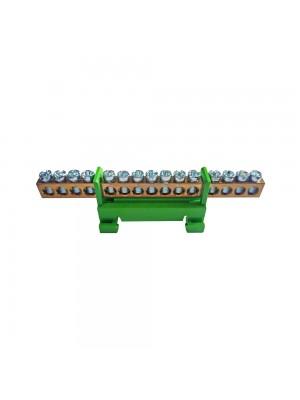 Шина нульова SP 6x9мм 15 отворів з ізолятором SEZ зелена