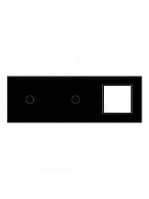 Панель сенсорна комбінована (1-1-0) Livolo чорне скло