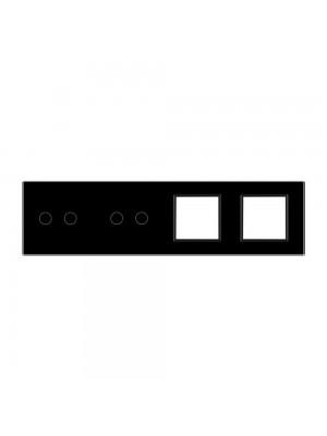 Панель сенсорна комбінована (2-2-0-0) Livolo чорне скло