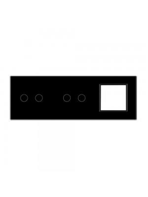 Панель сенсорна комбінована (2-2-0) Livolo чорне скло