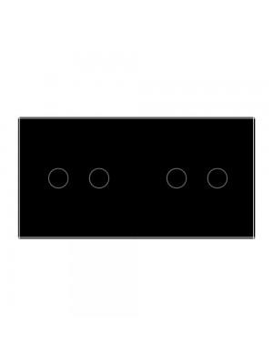 Панель сенсорного вимикача Livolo чорне скло 2-а (2-2)