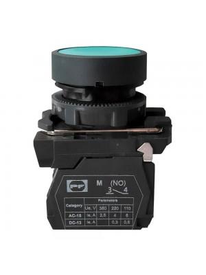 Кнопка Промфактор Пуск 1NO без фіксації зелена пластик