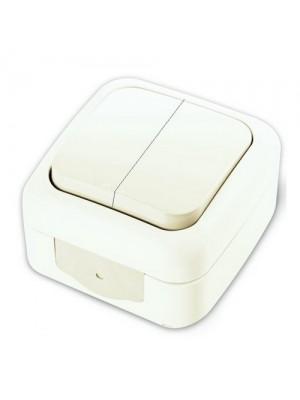 Вимикач VI-KO Palmiye білий 2кл накладний IP54