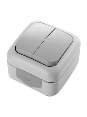 Вимикач VI-KO Palmiye сірий 2кл накладний IP54