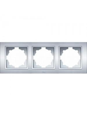 Рамка ELBI ZENA Silverline сірий металік 3-на
